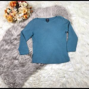 Eileen Fisher Blue Cable Knit Sweater